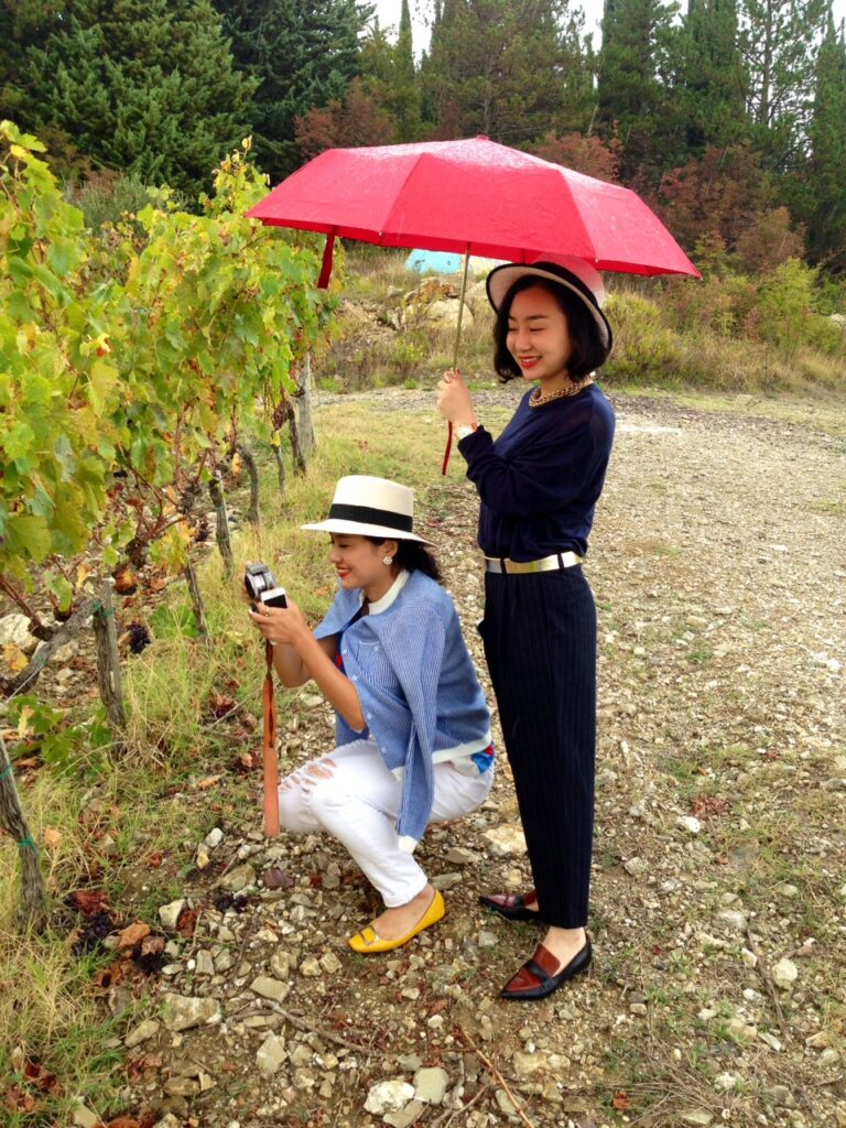 Chinese Friends checking the vines at the end of the harvest